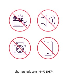 Set of stop signs, no smartphone, sound, photo camera, video camera. Flat vector outline icon on white background.