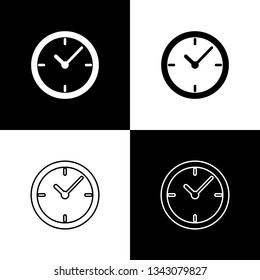 Set Stopwatch icons isolated on black and white background. Time timer sign. Line, outline and linear icon. Vector Illustration