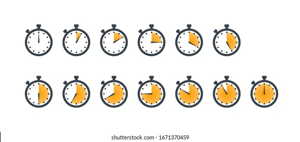 Set of stopwatch icons showing time - 5,10,15,20,25,30,35,40,45,50,55 minutes or seconds. Yellow and black color. Set of minimalist timers. Cooking time concept. Vector illustration
