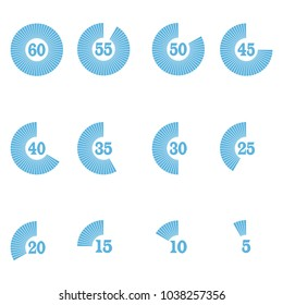 a set of stopwatch timer icons with ticks from 60 to 0.