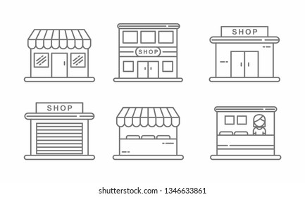 Set of store icon line design. Store vector illustration
