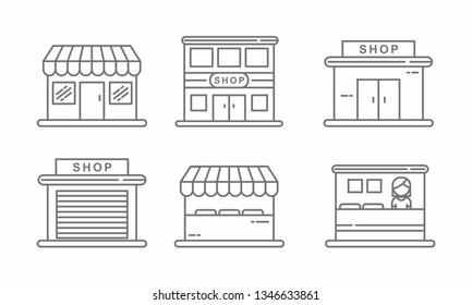 Set of store icon line design. Store vector illustration