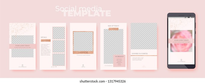 A set of stories layouts with rose gold glitter decoration on pink pastel background. Vector editable social media templates on transparent background. Insert your photo and text.