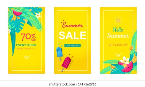 Set of stories sale banner tropical  background, social media stories template,  summer sale can use for, website, mobile app, poster, flyer, coupon, gift card, smartphone template, web design