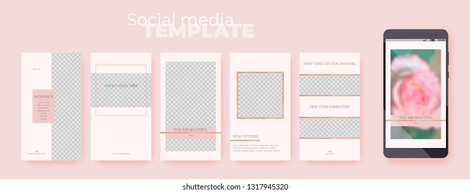 A set of story templates with rose gold glitter decoration on pink pastel background. Vector editable social media pack on transparent background. Insert your photo and text.