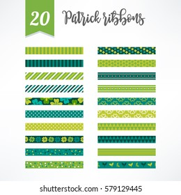 Set of St.Patrick's Day seamless ribbons with clover, polka dot and stripes. Perfect for creating collages, decorating wishes, albums, greeting cards, home accessories and more