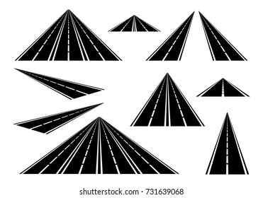 Set straight roads and highways with white lines on the roadside and a broken white center line on a white background. Black road with one, two, three and four lanes
