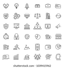 set of strat up icon with thin and simple line style use for web asset and pictogram element, editable stroke