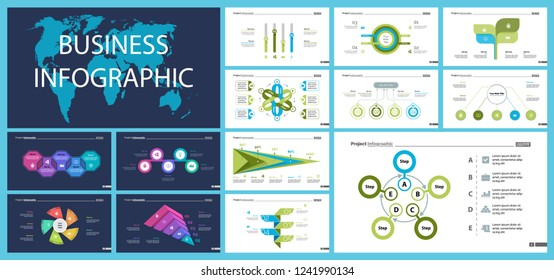Set of strategy or analysis concept infographic charts. Business diagrams for presentation slide templates. For corporate report, advertising, banner and brochure design. - Shutterstock ID 1241990134