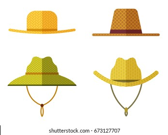 Set of straw hats for gardener and farmer. Icons isolated on white background. Vector illustration in flat design.