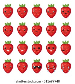 Set strawberry emotions face. Set strawberry smileys. Strawberries with Kawaii face on a white background. Strawberry cute set character, mascot, with different emotions. Vector illustration