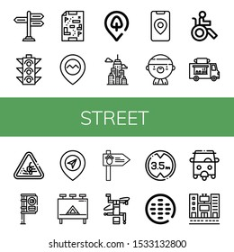 Set of street icons. Such as Signpost, Traffic light, Maps, Gps, Park location, City, Gangsta, Disabled, Food truck, Loose gravel, Bus stop, Billboard, Road sign , street icons