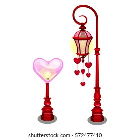 Set of street lamps decorated with festive pendants in the shape of a heart isolated on white background. Street decorations for celebration of Valentine's day. Cartoon vector illustration close-up.