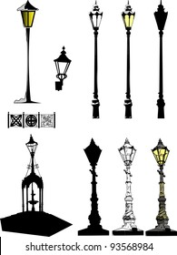 Set from street lantern at winter