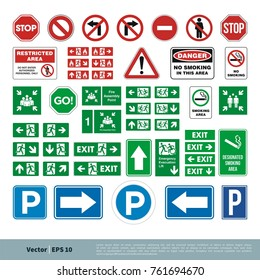 Set Street Sign, Evacuate Sign, Smoking Area / No Smoking Sign, Parking Sign, Stop, Fire Assembly Point Vector Template