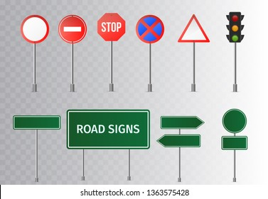 Set of street traffic and green road signs, signpost and guidepost . isolated on transparent background. Vector illustration.