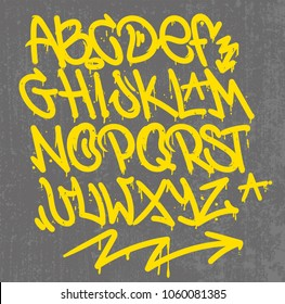 Set street type calligraphy design alphabet graffiti style tag letters write marker brush ink or aerosol paint spray. Free wildstyle for wall city urban. Modern vector style illustration art print.