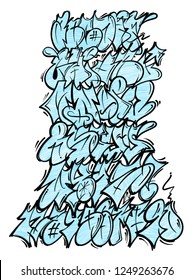 Set street type calligraphy design alphabet graffiti flop fast style letters write aerosol paint spray. Free wild style for wall city urban . Modern vector underground style illustration art print.