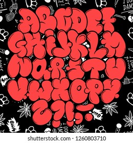 Set street type calligraphy design alphabet graffiti style tag letters write marker brush ink or aerosol paint spray.