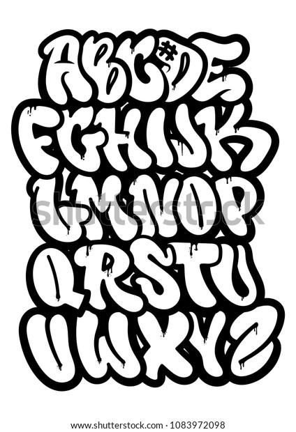 Set Sokak Tipi Kaligrafi Tasarim Alfabe Stok Vektor Telifsiz