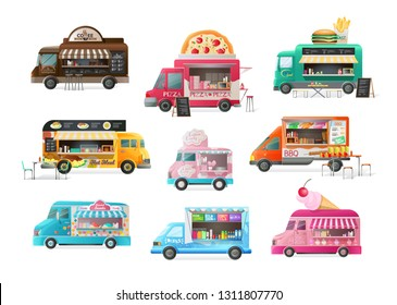 Set of street van, shop truck with stall, counter with fresh products. Transportation, canopy, on wheels, with a menu, fast food assortment and tasty eating, drinks. Vector illustration isolated.