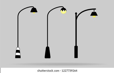 Set of streetlight vector isolated on background