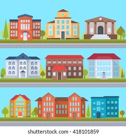Set of streets with office or administrative buildings, outdoor cartoon architecture set, vector illustration