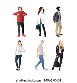 Set of Streetwear People. Female and Male Character Fashionable Wear Streetwear with Sweater, Blazer and Scarf. Flat Cartoon Vector Illustration in Colored Style. - Vector