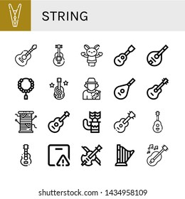 Set of string icons such as Clothespin, Guitar, Acoustic guitar, Hand puppet, Viola, Mandolin, Bead, Musician, Lute, Thread, Quiver, Important delivery, Violin, Harp , string