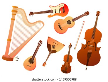 Set of stringed musical instruments. Collection of balalaika, harp, double bass, violin, guitar. Design layout for banners presentations, flyers, posters and invitations. Vector illustration