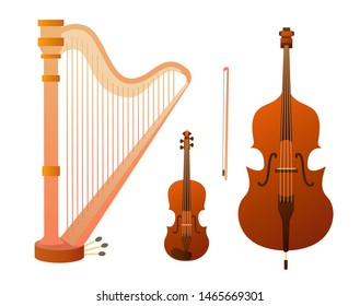 Set of stringed musical instruments.  Design layout for banners presentations, flyers, posters and invitations. Vector illustration