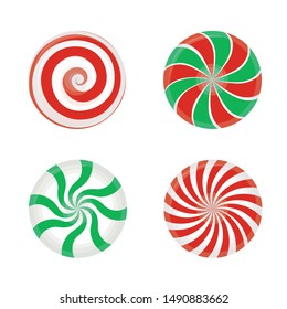 Set of striped candy without wrapper. Caramel, vector illustration, for New year Christmas new year's eve winter holiday dessert meal. Vector EPS 10