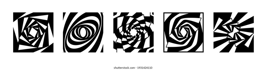 Set striped graphic shapes swirling in loop. Black and white shapes that create the illusion of movement. optical effect wave stripe movement. Vector abstract shapes. vortex with lines.