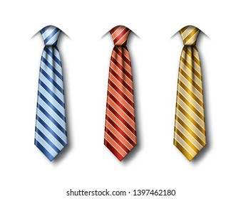Set of striped ties in different colors on white background. Fathers Day greeting card template with blue, red and gold necktie. Realistic vector illustration