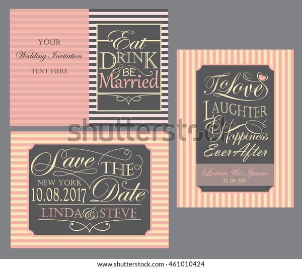Set Striped Wedding Invitation Cards Various Stock Vector