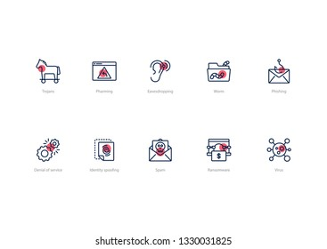 Set of stroke computer virus icons with red accent isolated on light background. Contains such icons Trojans, Spam, Phishing, Denial of service and more.