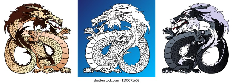 Set strong asian dragons colorful brown and black and line-art separately on white. Vector cartoon illustration, page coloring book
