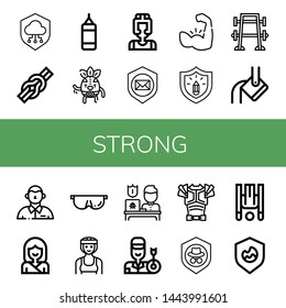 Set of strong icons such as Shield, Knot, Punching bag, Wrestler, Boxer, Muscle, Protection, Bench press, Heavy, Defendant, Karate, Protective, Archer, Armor, Inversion therapy , strong