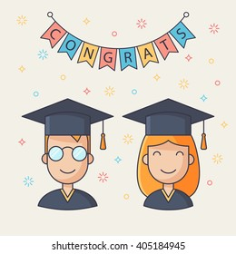 Set of student avatar icons. Vector guy and girl student avatars.  Cartoon style. Graduation greeting card, illustration. Flat graduate characters in graduation hat and gown. Happy student pictogram.