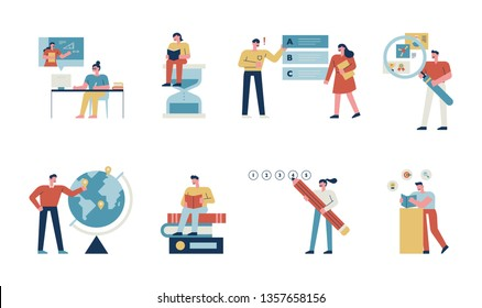 A set of student concept characters who study various subjects in school hard. flat design style minimal vector illustration
