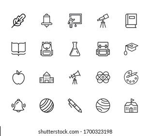 Set of student related vector line icons. Premium linear symbols pack. Vector illustration isolated on a white background. Web symbols for web sites and mobile app. Trendy design.