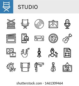 Set of studio icons such as Directors chair, Drum, Vnyil, Picture, Microphone, Clapperboard, Headphone, Layout, Music, Guitar, Saxophone, Tripod, Singer, Artboard, Singing , studio