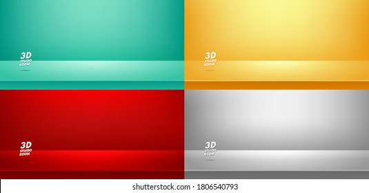 Set of studio room Green, Red' Yellow, Grey background used for Display your products, Template mock up, Business backdrop. Vector illustration
