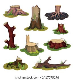 Set stumps and snags. Vector illustration on white background.