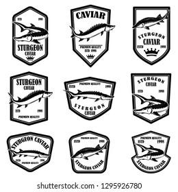 Set of sturgeon caviar labels. Design element for logo, label, emblem, sign. Vector illustration.