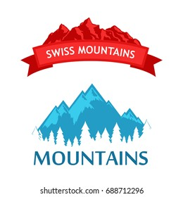 Set of Style Colorful Emblem with Alpine Mountains in Blue and Red color isolated on white.