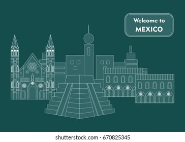 set in the style of a flat design on the theme of mexico.