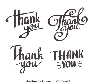 A set of style 'Thank You' design elements.Vector lettering.