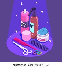 Set of styling equipment Cream, spray, shampoo, scissors.