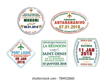 Set of stylised passport stamps for airports of Madagascar, Seychelles, Comoros, La reunion and Mauritius in vector format.